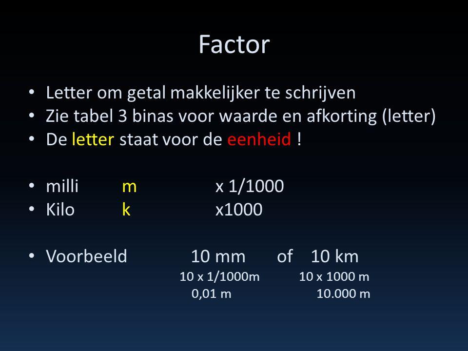 Factor • Letter om getal makkelijker te schrijven • Zie tabel 3 binas voor waarde en afkorting (letter) • De letter staat voor de eenheid ! • millimx