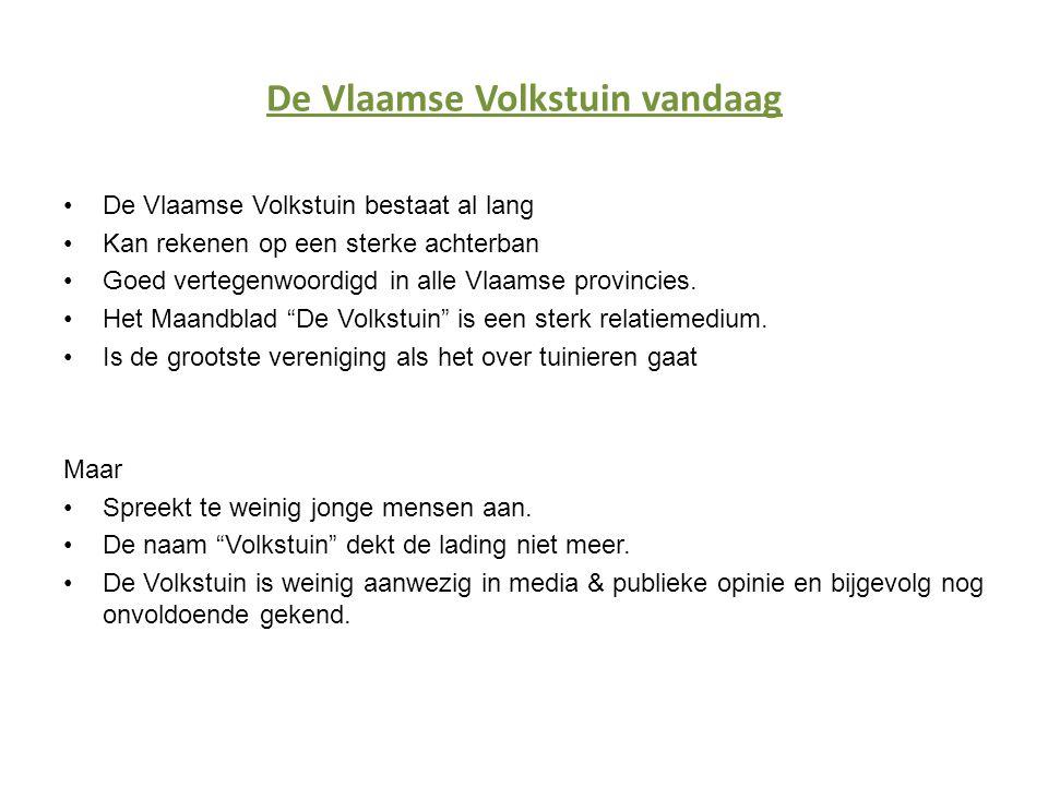 De Vlaamse Volkstuin vandaag •De Vlaamse Volkstuin bestaat al lang •Kan rekenen op een sterke achterban •Goed vertegenwoordigd in alle Vlaamse provincies.