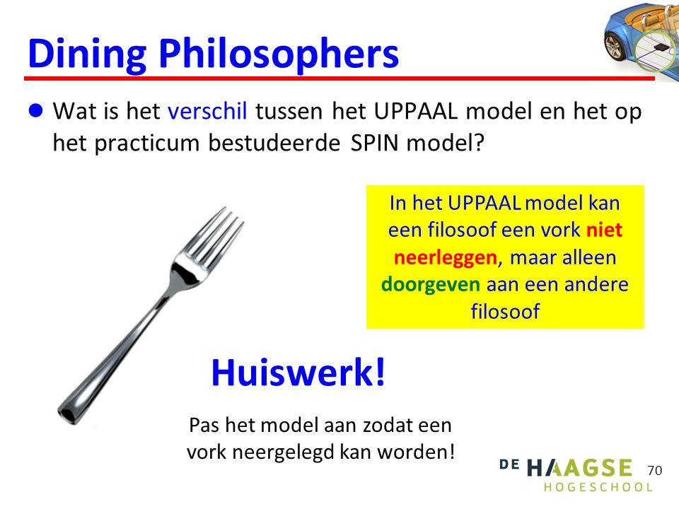 Dining Philosophers  Wat is het verschil tussen het UPPAAL model en het op het practicum bestudeerde SPIN model? 70 In het UPPAAL model kan een filos
