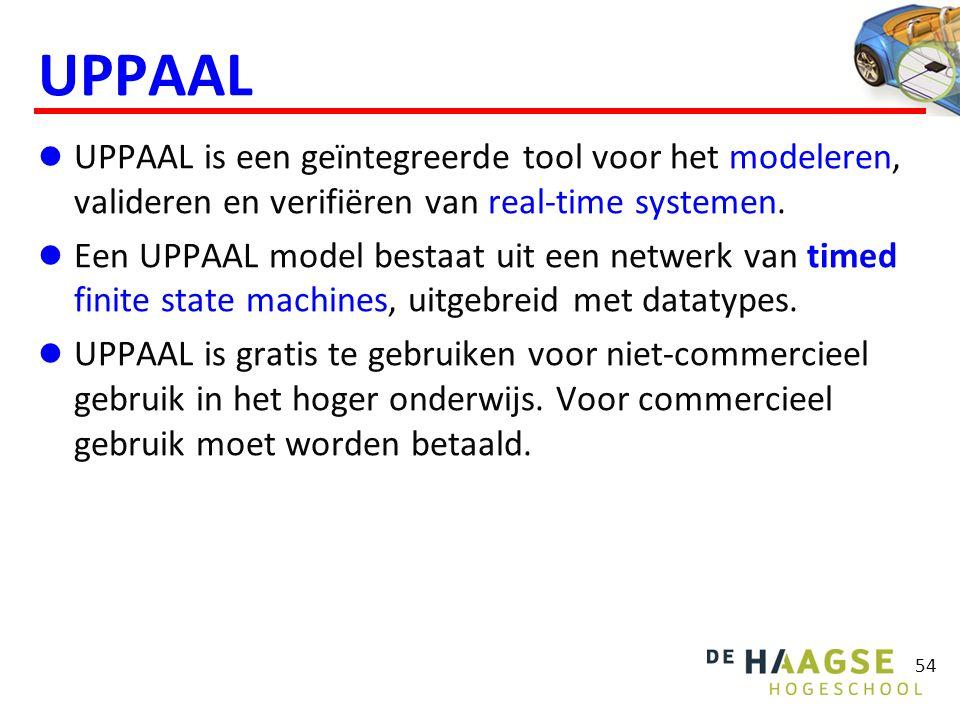 UPPAAL model  Een UPPAAL model bestaat uit:  Globale declaraties  Types  Bounded integers  Arrays  Structs  Variabelen  Functies (in C syntax)  Channels (voor synchronisatie)  Clocks (voor het bijhouden van de tijd)  Proces templates  Grafisch weergegeven als een timed FSMD (Finite State Machine with Data)  Lokale declaraties  System declarations  Instantieert processen 55