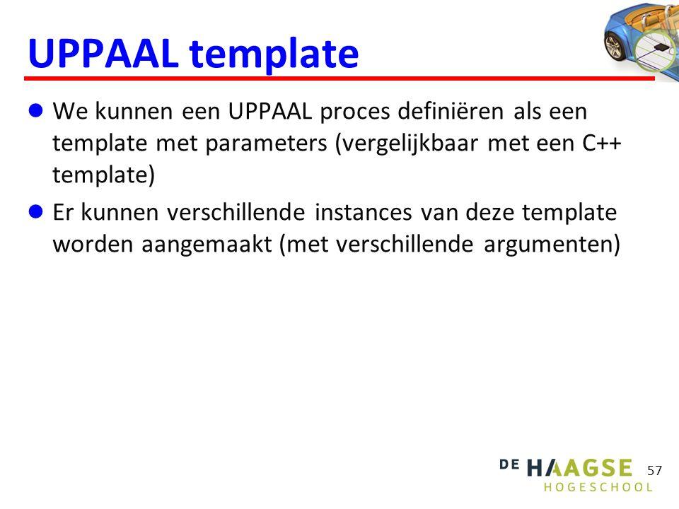 UPPAAL template  We kunnen een UPPAAL proces definiëren als een template met parameters (vergelijkbaar met een C++ template)  Er kunnen verschillend