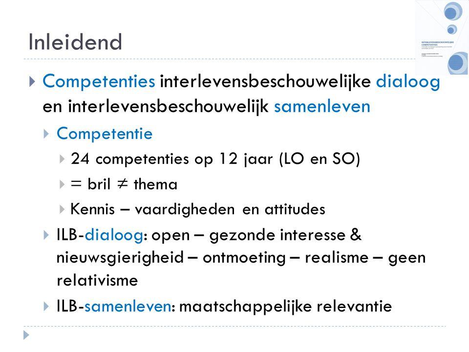 Inleidend  Competenties interlevensbeschouwelijke dialoog en interlevensbeschouwelijk samenleven  Competentie  24 competenties op 12 jaar (LO en SO
