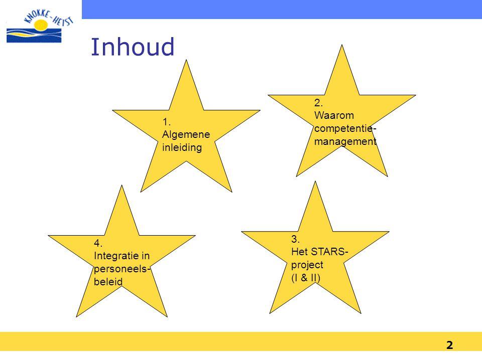 2 1. Algemene inleiding 3. Het STARS- project (I & II) 2. Waarom competentie- management 4. Integratie in personeels- beleid Inhoud
