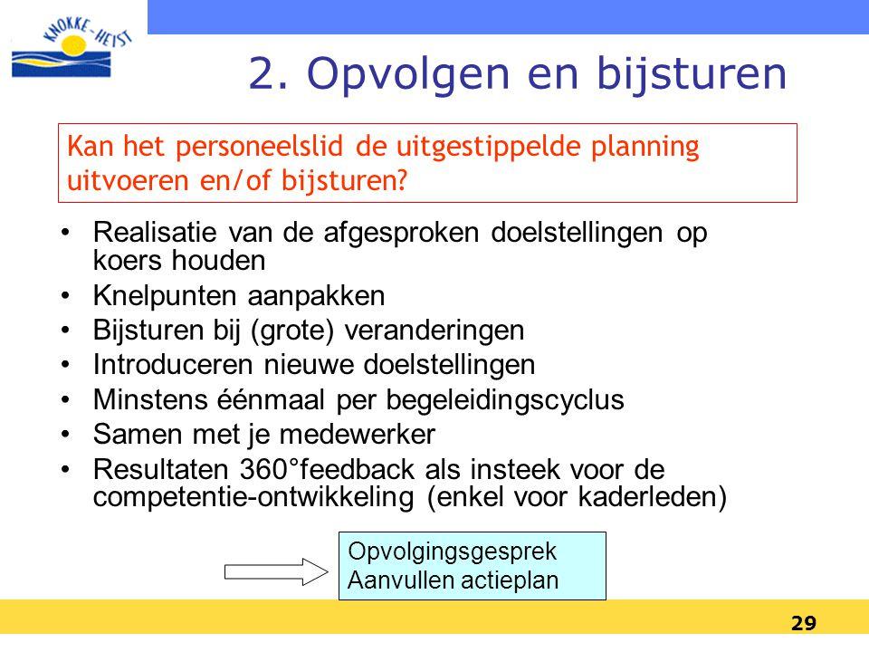 29 2. Opvolgen en bijsturen •Realisatie van de afgesproken doelstellingen op koers houden •Knelpunten aanpakken •Bijsturen bij (grote) veranderingen •