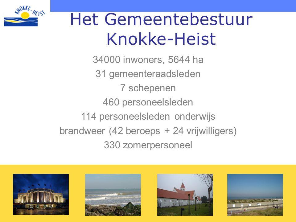 4 34000 inwoners, 5644 ha 31 gemeenteraadsleden 7 schepenen 460 personeelsleden 114 personeelsleden onderwijs brandweer (42 beroeps + 24 vrijwilligers