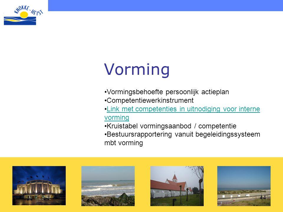 44 Vorming •Vormingsbehoefte persoonlijk actieplan •Competentiewerkinstrument •Link met competenties in uitnodiging voor interne vormingLink met compe