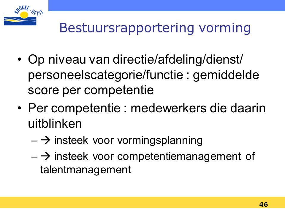 46 Bestuursrapportering vorming •Op niveau van directie/afdeling/dienst/ personeelscategorie/functie : gemiddelde score per competentie •Per competent