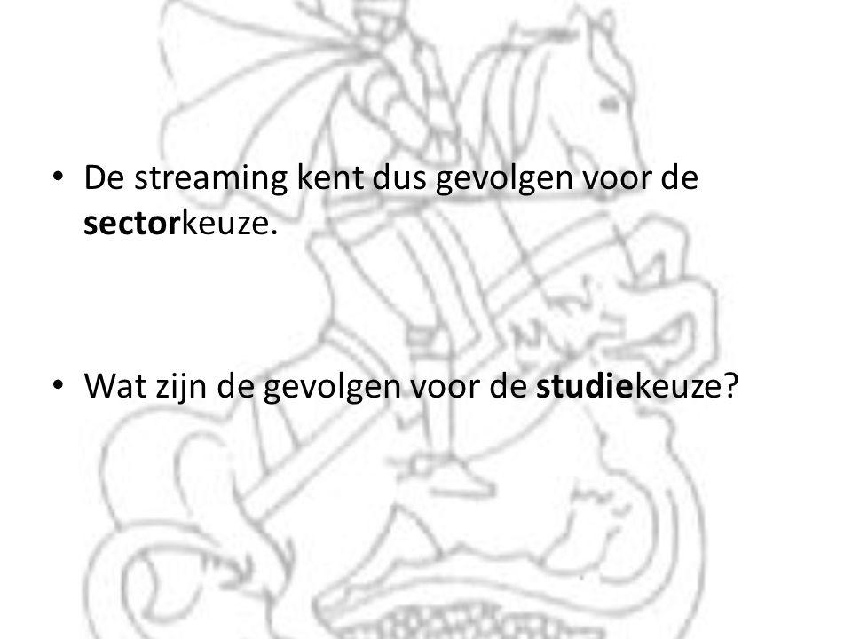 • De streaming kent dus gevolgen voor de sectorkeuze. • Wat zijn de gevolgen voor de studiekeuze?