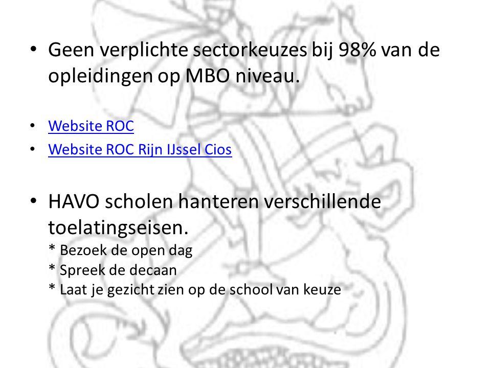 • Geen verplichte sectorkeuzes bij 98% van de opleidingen op MBO niveau. • Website ROC Website ROC • Website ROC Rijn IJssel Cios Website ROC Rijn IJs