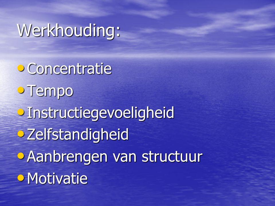Werkhouding: • Concentratie • Tempo • Instructiegevoeligheid • Zelfstandigheid • Aanbrengen van structuur • Motivatie