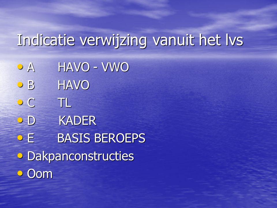 Indicatie verwijzing vanuit het lvs • A HAVO - VWO • B HAVO • C TL • D KADER • E BASIS BEROEPS • Dakpanconstructies • Oom