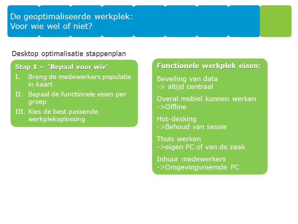 Thuiswerker Inhuur Informatie/kenniswerker Mobielewerker Taakwerker De geoptimaliseerde werkplek: Voor wie wel of niet.