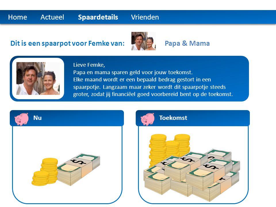 Home Actueel Spaardetails Vrienden Dit is een spaarpot voor Femke van: Lieve Femke, Papa en mama sparen geld voor jouw toekomst. Elke maand wordt er e