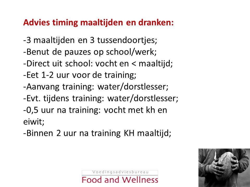 -3 maaltijden en 3 tussendoortjes; -Benut de pauzes op school/werk; -Direct uit school: vocht en < maaltijd; -Eet 1-2 uur voor de training; -Aanvang t