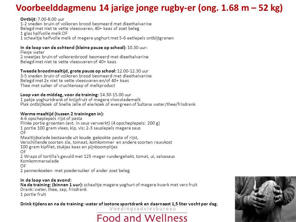 Voorbeelddagmenu 14 jarige jonge rugby-er (ong. 1.68 m – 52 kg) Ontbijt: 7.00-8.00 uur 1-2 sneden bruin of volkoren brood besmeerd met dieethalvarine
