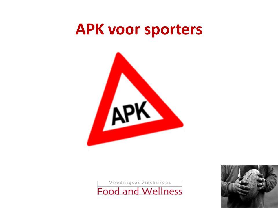 Inhoud APK: • Training • Mentaal • Omgevingsfactoren • Materiaal • Lichaam/gezondheid • Voeding