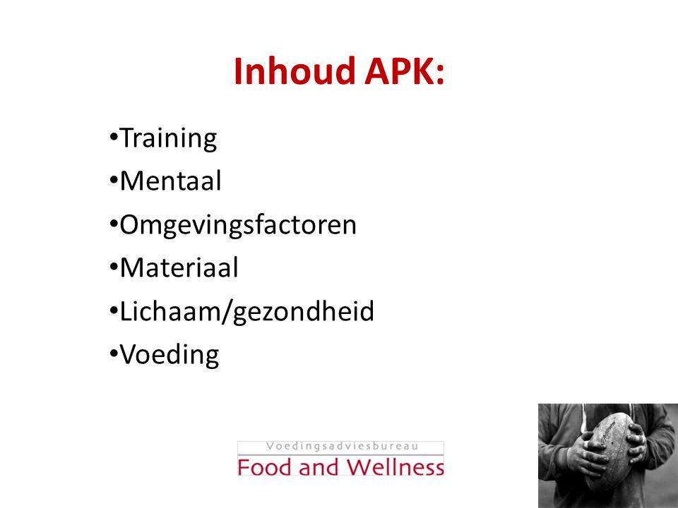 Kansen door: • Goede basis voeding • Timing maaltijden • Optimale vocht voorziening • Herstelvoeding na inspanning • Optimaal lichaams vet%