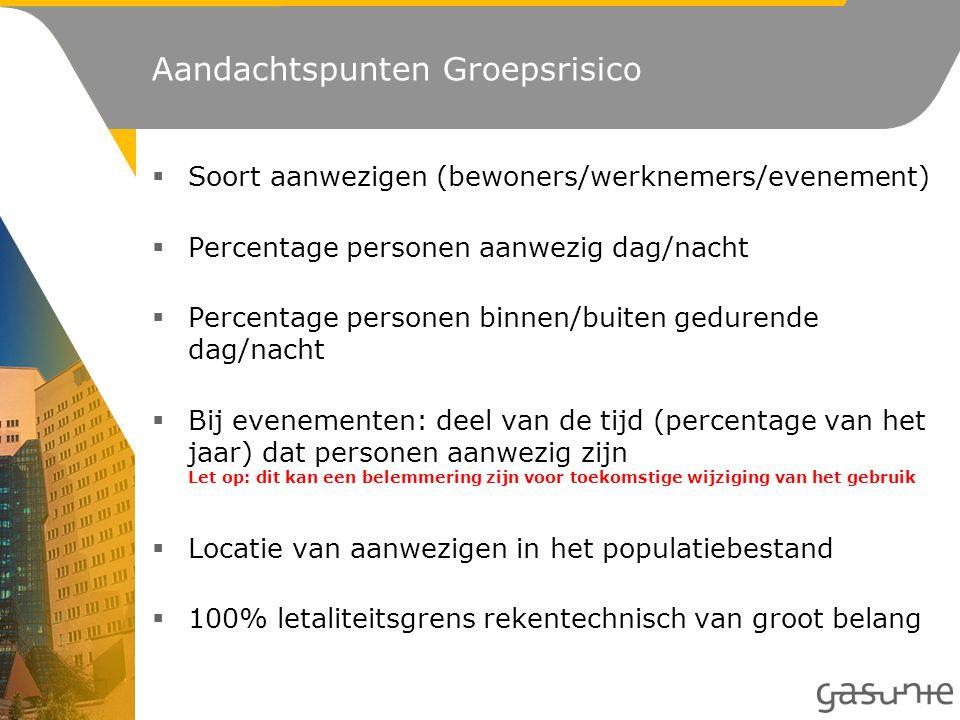Aandachtspunten Groepsrisico  Soort aanwezigen (bewoners/werknemers/evenement)  Percentage personen aanwezig dag/nacht  Percentage personen binnen/