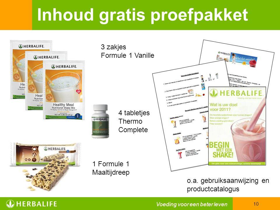 Voeding voor een beter leven 10 Inhoud gratis proefpakket 3 zakjes Formule 1 Vanille 1 Formule 1 Maaltijdreep o.a.