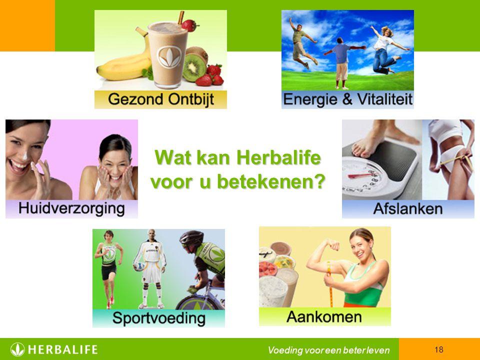 Voeding voor een beter leven 18 Wat kan Herbalife voor u betekenen?