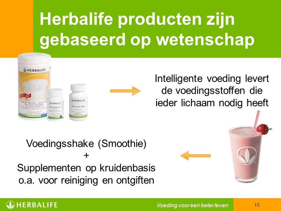 Herbalife producten zijn gebaseerd op wetenschap Intelligente voeding levert de voedingsstoffen die ieder lichaam nodig heeft Voedingsshake (Smoothie) + Supplementen op kruidenbasis o.a.