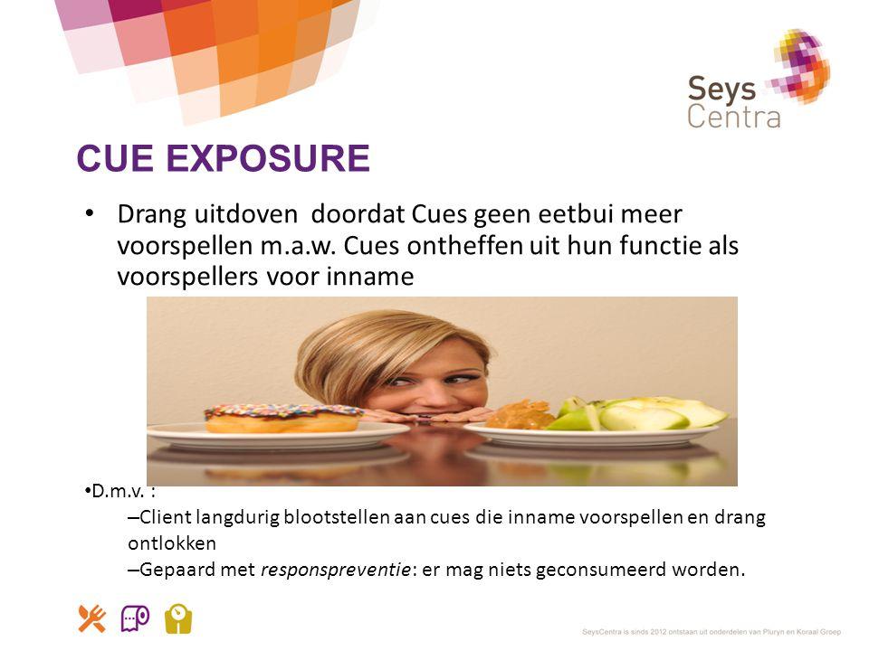 CUE EXPOSURE • Drang uitdoven doordat Cues geen eetbui meer voorspellen m.a.w. Cues ontheffen uit hun functie als voorspellers voor inname • D.m.v. :