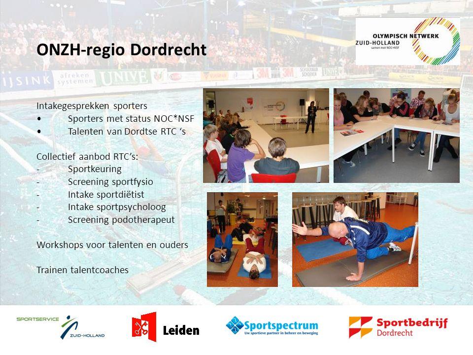 ONZH-regio Dordrecht Intakegesprekken sporters •Sporters met status NOC*NSF •Talenten van Dordtse RTC 's Collectief aanbod RTC's: -Sportkeuring -Screening sportfysio -Intake sportdiëtist -Intake sportpsycholoog -Screening podotherapeut Workshops voor talenten en ouders Trainen talentcoaches