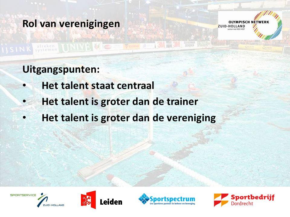 Rol van verenigingen Uitgangspunten: • Het talent staat centraal • Het talent is groter dan de trainer • Het talent is groter dan de vereniging
