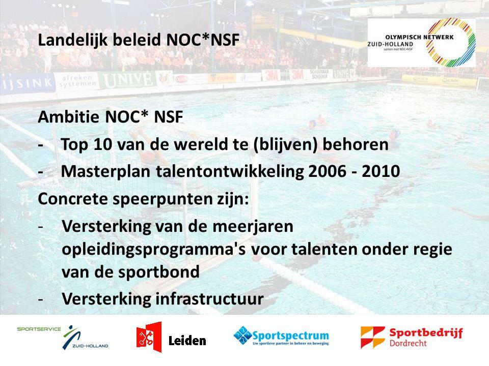 Landelijk beleid NOC*NSF Ambitie NOC* NSF - Top 10 van de wereld te (blijven) behoren - Masterplan talentontwikkeling 2006 - 2010 Concrete speerpunten zijn: -Versterking van de meerjaren opleidingsprogramma s voor talenten onder regie van de sportbond -Versterking infrastructuur