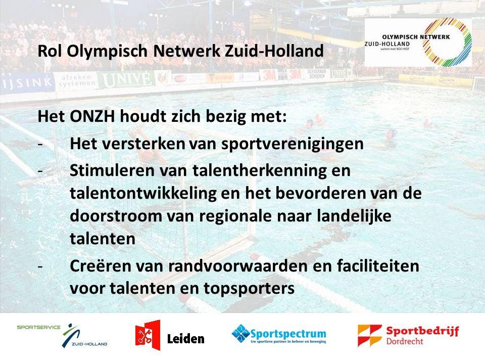 Olympisch Netwerk Zuid-Holland Het ONZH bestaat uit drie frontoffices: - Frontoffice Alphen aan den Rijn - Frontoffice Leiden - Frontoffice Dordrecht www.onzh.nl ONZH werkt samen met ON Den Haag en ON Rotterdam