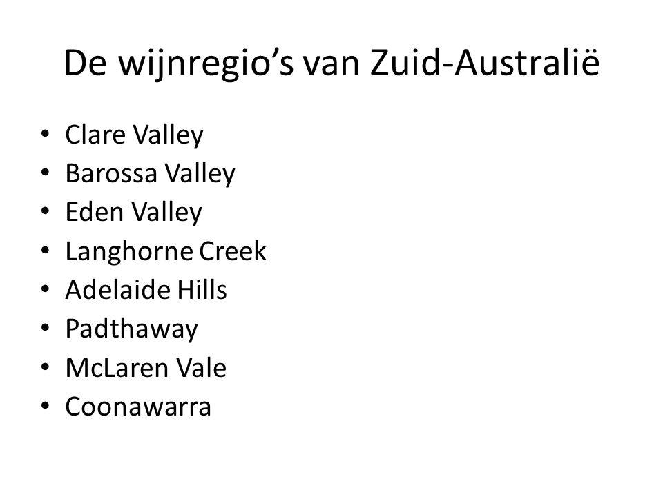 De wijnregio's van Zuid-Australië • Clare Valley • Barossa Valley • Eden Valley • Langhorne Creek • Adelaide Hills • Padthaway • McLaren Vale • Coonaw