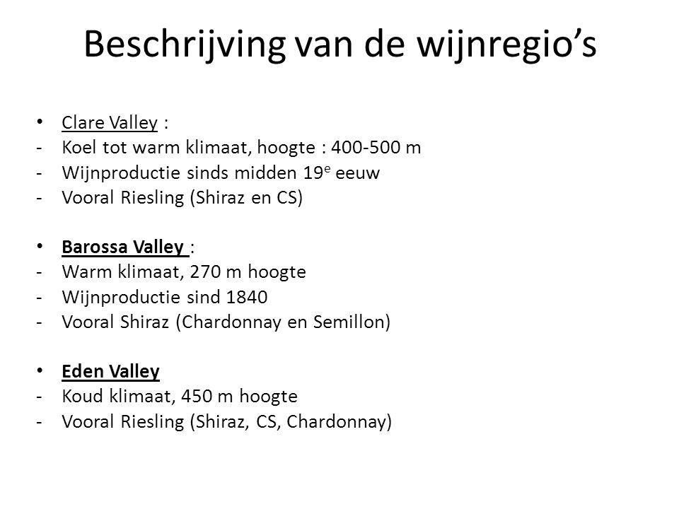 Beschrijving van de wijnregio's • Clare Valley : -Koel tot warm klimaat, hoogte : 400-500 m -Wijnproductie sinds midden 19 e eeuw -Vooral Riesling (Sh