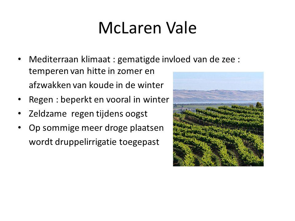McLaren Vale • Mediterraan klimaat : gematigde invloed van de zee : temperen van hitte in zomer en afzwakken van koude in de winter • Regen : beperkt