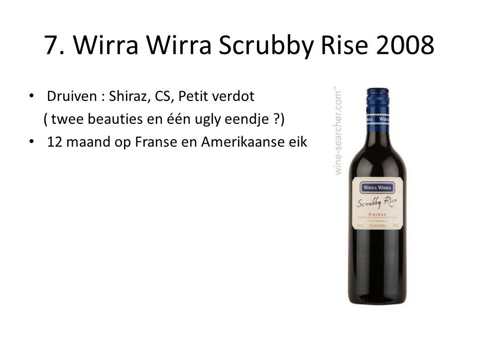 7. Wirra Wirra Scrubby Rise 2008 • Druiven : Shiraz, CS, Petit verdot ( twee beauties en één ugly eendje ?) • 12 maand op Franse en Amerikaanse eik