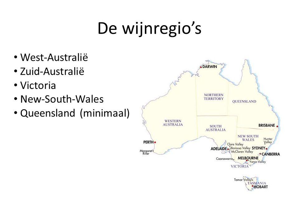 De wijnregio's • West-Australië • Zuid-Australië • Victoria • New-South-Wales • Queensland (minimaal)