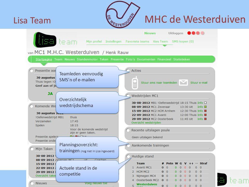 Lisa Team MHC de Westerduiven Teamleden eenvoudig SMS'n of e-mailen Overzichtelijk wedstrijdschema Planningsoverzicht: trainingen (nog niet in Lisa in