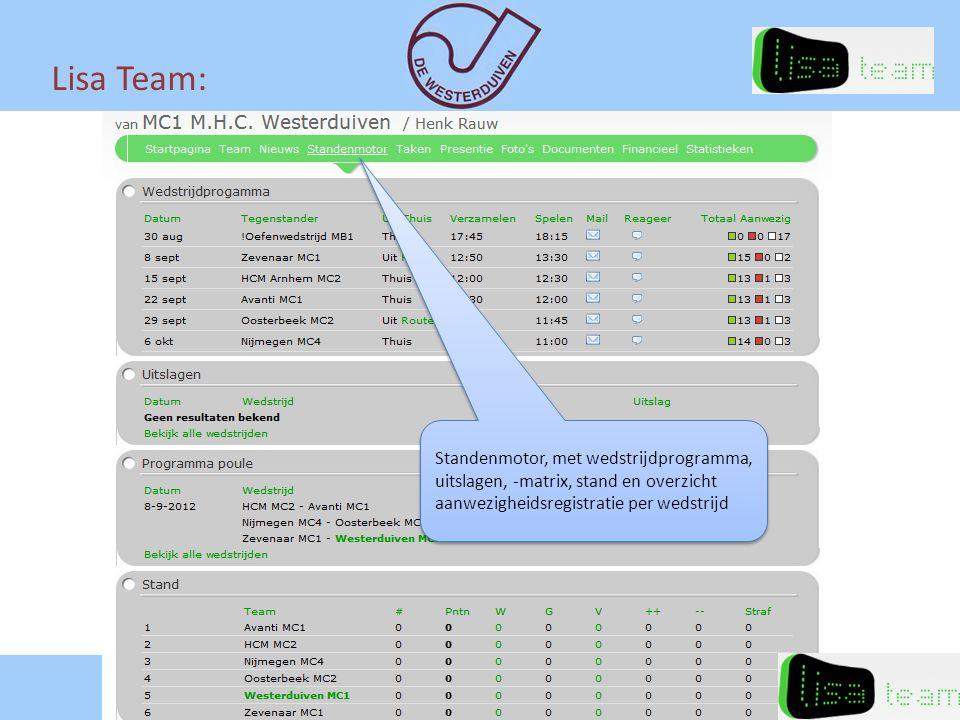 Lisa Team: Standenmotor, met wedstrijdprogramma, uitslagen, -matrix, stand en overzicht aanwezigheidsregistratie per wedstrijd