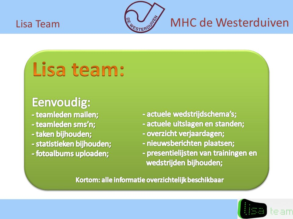 Lisa Team MHC de Westerduiven