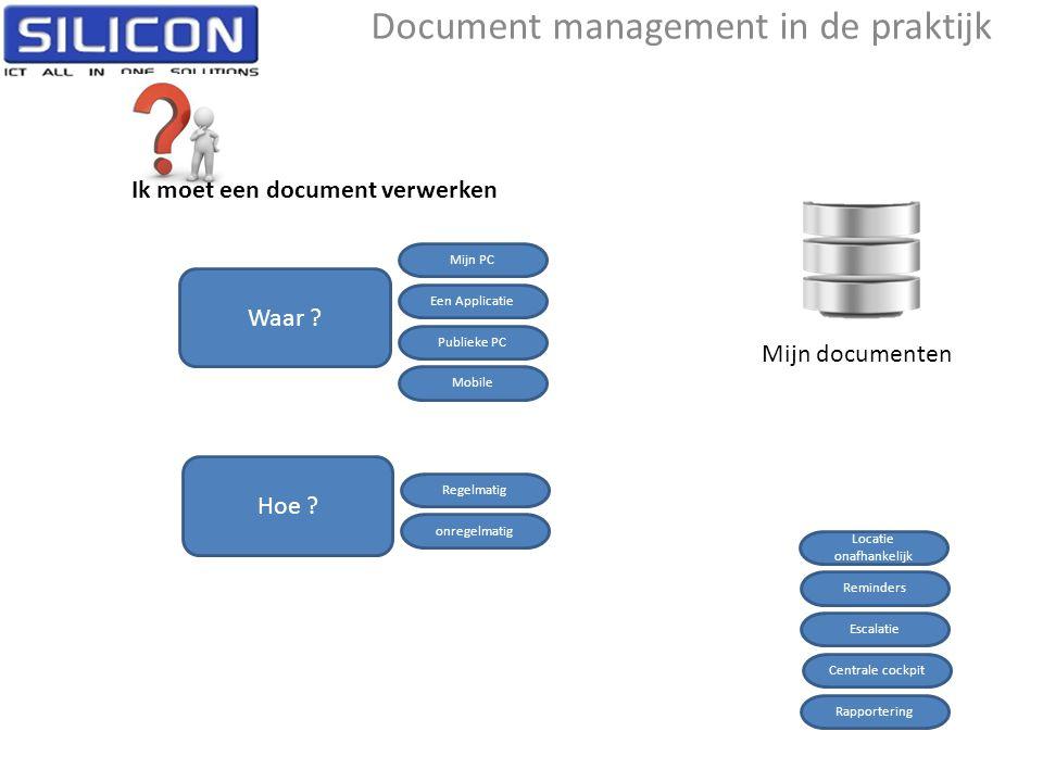 Mijn documenten Ik moet een document verwerken Een Applicatie Publieke PC Mobile Mijn PC Waar ? Regelmatig onregelmatig Hoe ? Reminders Escalatie Cent
