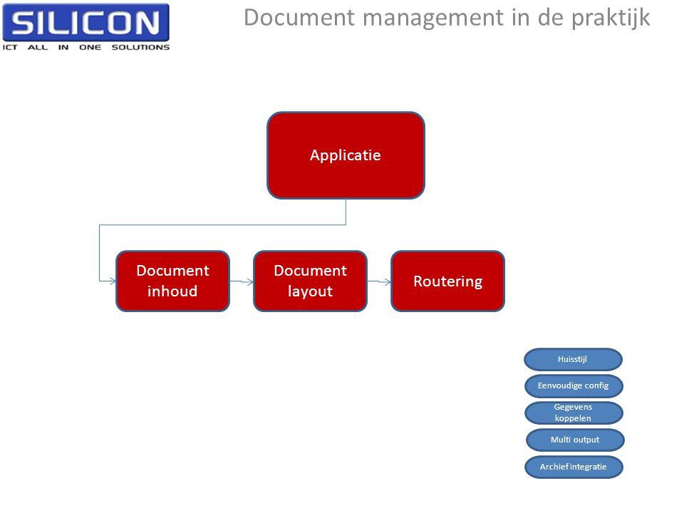 Applicatie Document inhoud Document layout Routering Document management in de praktijk Eenvoudige config Gegevens koppelen Multi output Archief integratie Huisstijl