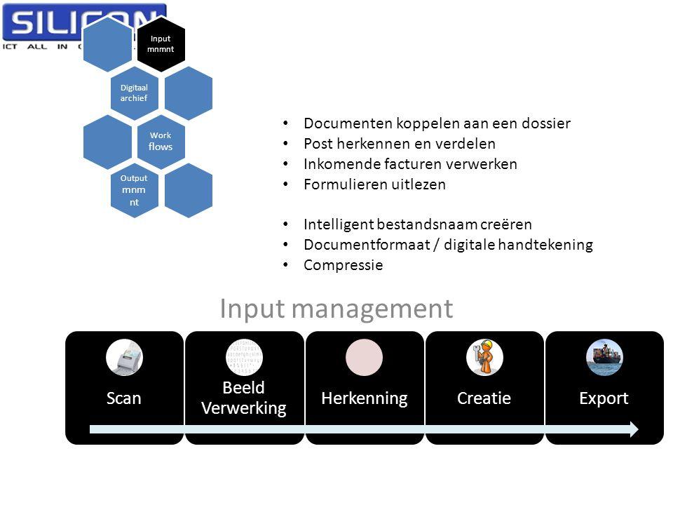 Input management Input mnmnt Digitaal archief Work flows Output mnm nt Scan Beeld Verwerking HerkenningCreatieExport • Documenten koppelen aan een dos