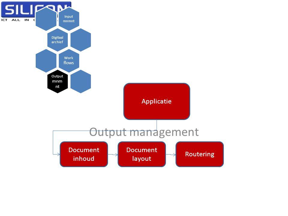 Output management Input mnmnt Digitaal archief Work flows Output mnm nt Applicatie Document inhoud Document layout Routering
