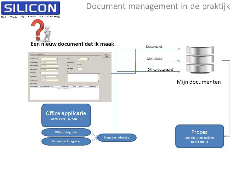 Document management in de praktijk Mijn documenten Een nieuw document dat ik maak. centrale applicatie (factuur, bestelbon,…) Document Metadata Office