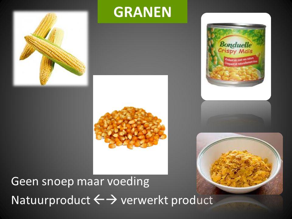 GRANEN Geen snoep maar voeding Natuurproduct  verwerkt product