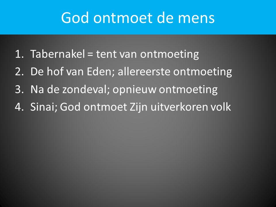 God ontmoet de mens 1.Tabernakel = tent van ontmoeting 2.De hof van Eden; allereerste ontmoeting 3.Na de zondeval; opnieuw ontmoeting 4.Sinai; God ontmoet Zijn uitverkoren volk