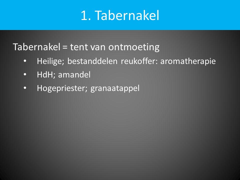 1. Tabernakel Tabernakel = tent van ontmoeting • Heilige; bestanddelen reukoffer: aromatherapie • HdH; amandel • Hogepriester; granaatappel