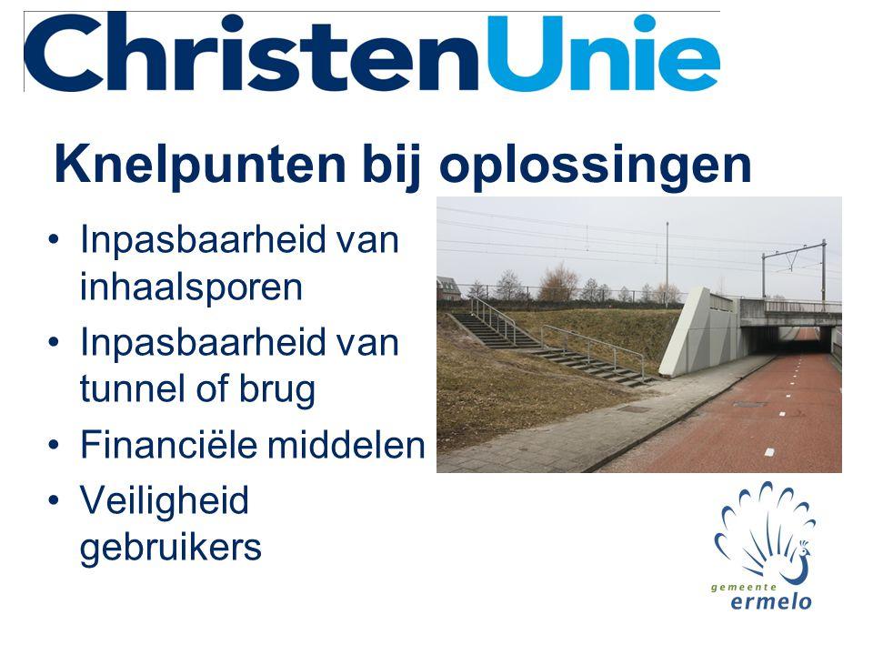 Knelpunten bij oplossingen •Inpasbaarheid van inhaalsporen •Inpasbaarheid van tunnel of brug •Financiële middelen •Veiligheid gebruikers