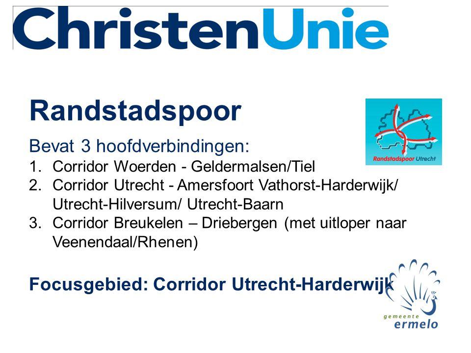 Randstadspoor Bevat 3 hoofdverbindingen: 1.Corridor Woerden - Geldermalsen/Tiel 2.Corridor Utrecht - Amersfoort Vathorst-Harderwijk/ Utrecht-Hilversum