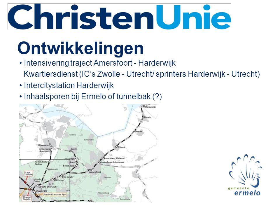 Ontwikkelingen • Intensivering traject Amersfoort - Harderwijk Kwartiersdienst (IC's Zwolle - Utrecht/ sprinters Harderwijk - Utrecht) • Intercitystation Harderwijk • Inhaalsporen bij Ermelo of tunnelbak ( )