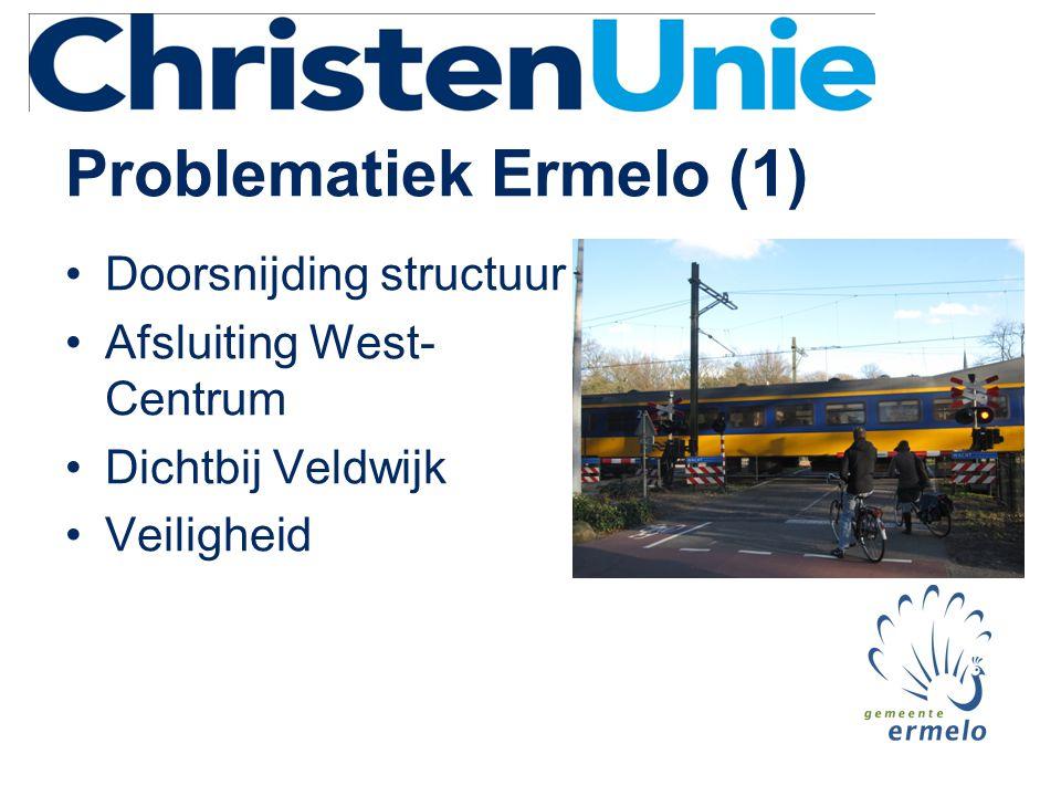 Problematiek Ermelo (1) •Doorsnijding structuur •Afsluiting West- Centrum •Dichtbij Veldwijk •Veiligheid